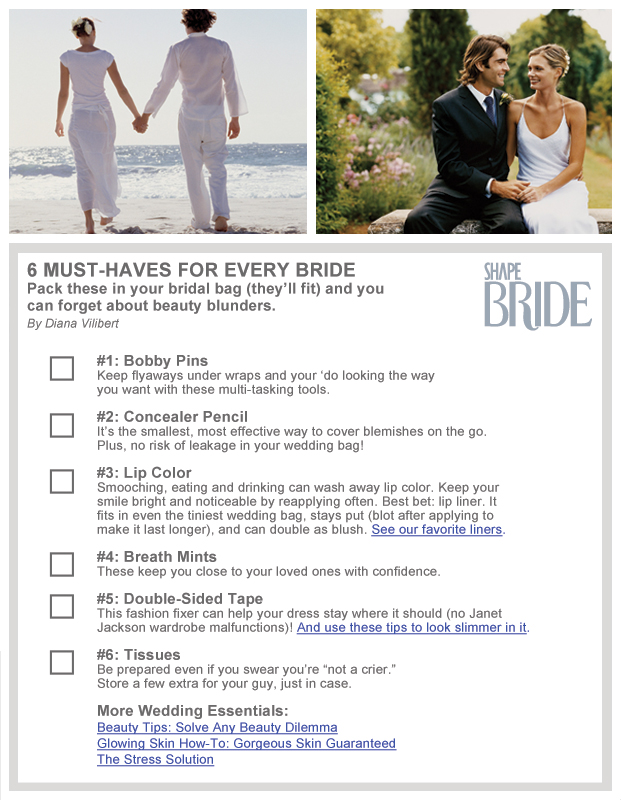 wedding checklist 6 things every bride should have in her wedding bag