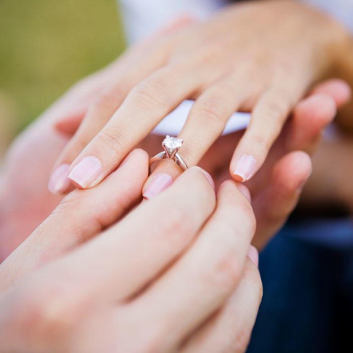 Study shows engagement ring cost and wedding expenses impact divorce rate shape magazine - Demande en mariage originale par une femme ...