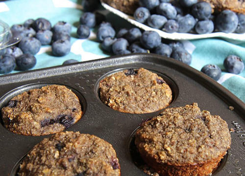 Blueberry Protein Muffins with Lots of Fiber and No Added Sugar