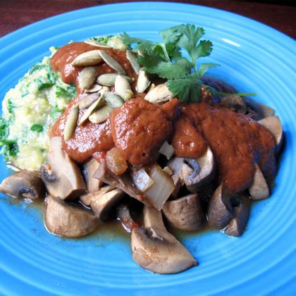 Mushroom Mole with Polenta and Kale