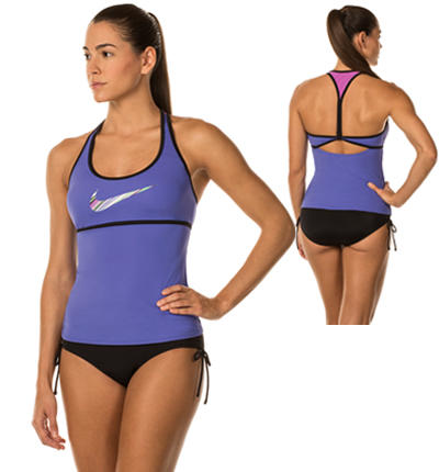 First known solid crossback poly workout bikini
