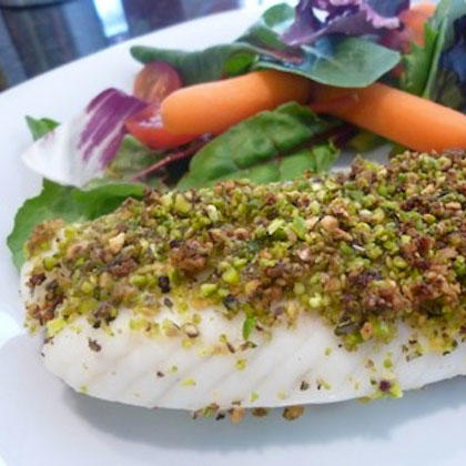 Healthy nut recipes almonds pecans walnuts pine nuts for Pistachio crusted fish