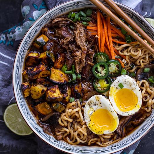 Crispy Pork Ramen Noodle Soup with Roasted Acorn Squash