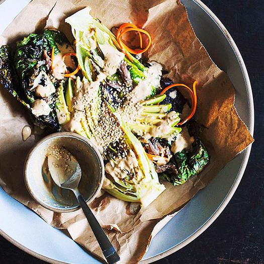 Charred Romaine Salad With Tahini Dressing