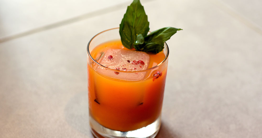 Rum and sweet potato cocktail