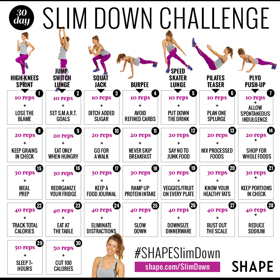 The 30 day shape slim down weight loss challenge shape for Weight loss challenge flyer template
