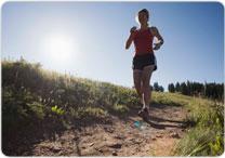 woman running on path