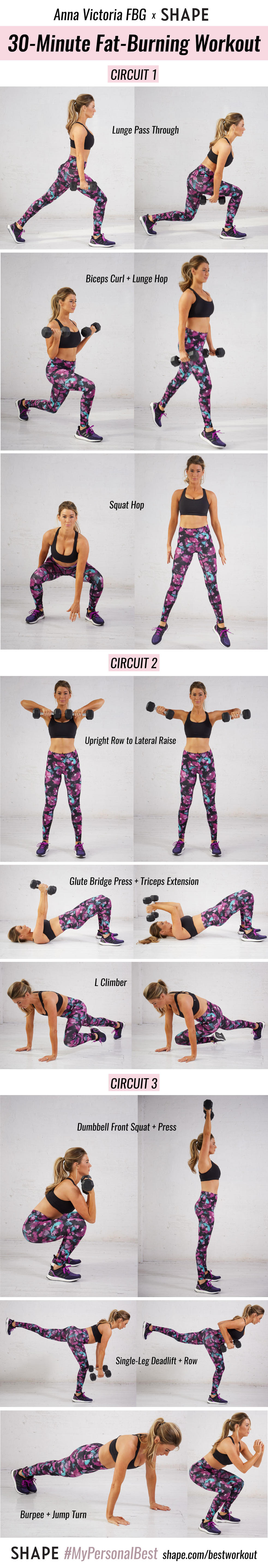Chart of Fat-Burning Workout from Anna Victoria