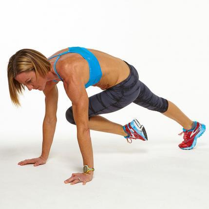 High Plank Knee to Opposite Elbow workout challenge