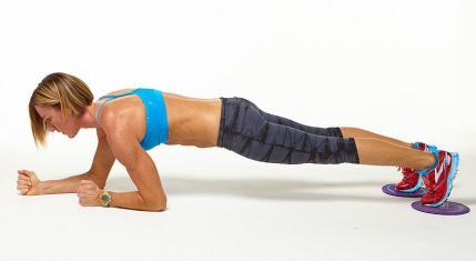 Towel Plank Army Crawls workout challenge