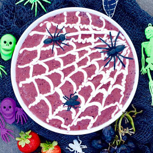 Spooktacular Smoothie Bowl with Edible Spider Webs