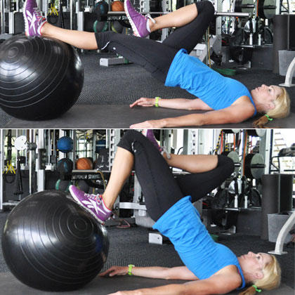 Hamstring ball curl exercises to lift butt