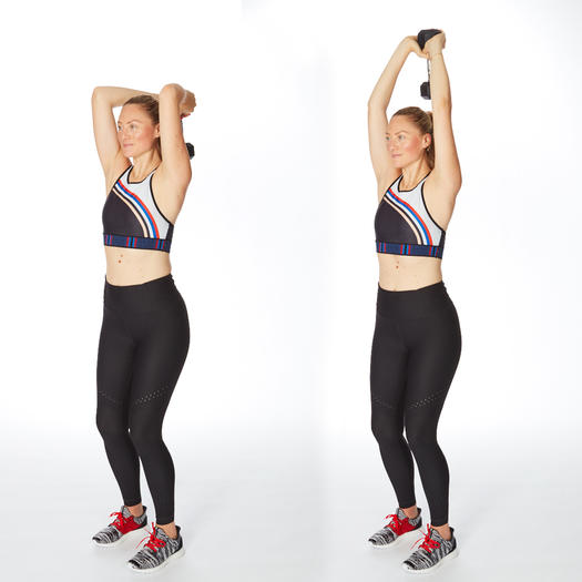 triceps chop arm exercises with dumbbells