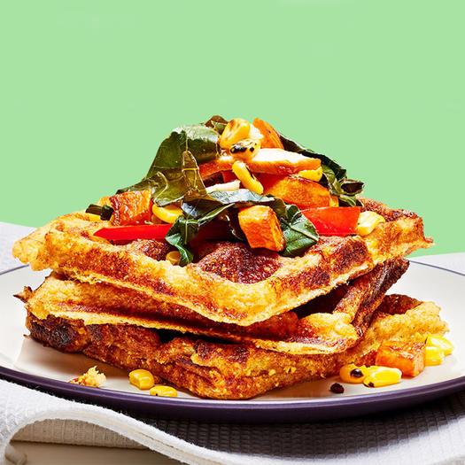Savory Southwestern Cornbread Waffle healthy brunch recipe