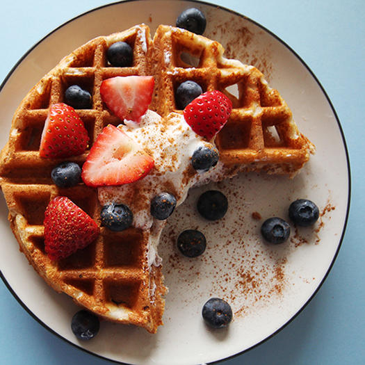healthy high protein flax waffles