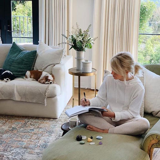 Julianne Hough journaling with crystals
