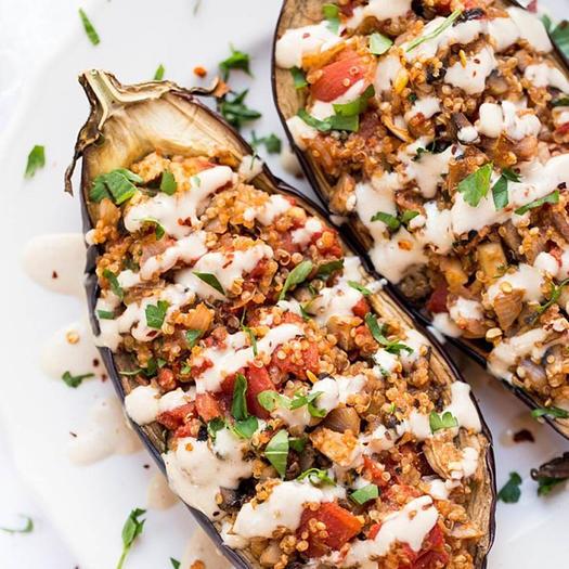 quinoa stuffed eggplant mediterranean diet meal idea for dinner