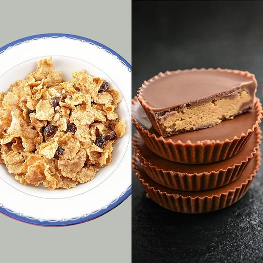 raisin bran sugar content vs resse's peanut butter cups