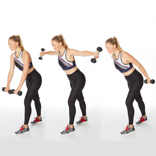 reverse fly press back arm exercise dumbbells