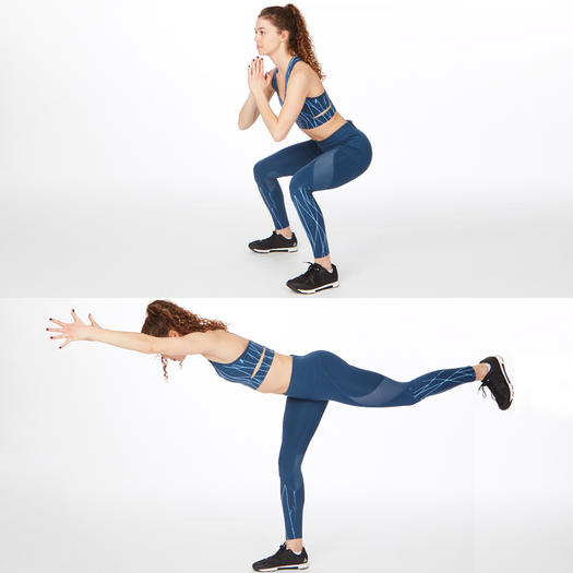 squat to kickback butt lifting exercise