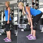 Woman doing dumbbell deadlift butt exercise