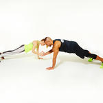 couple workout exercise plank taps