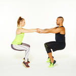 partner workout move couple workout exercise leaning squat