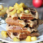 caramel apple spice healthy waffles