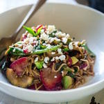 healthy Pasta Salad recipe with Strawberries, Zucchini, and Balsamic Vinaigrette