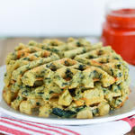 healthy spinach and feta waffles