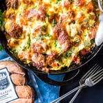 Keto Cheesy Cabbage Sausage Skillet for super bowl
