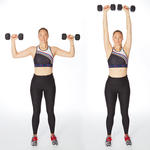 overhead press arm exercise with weights